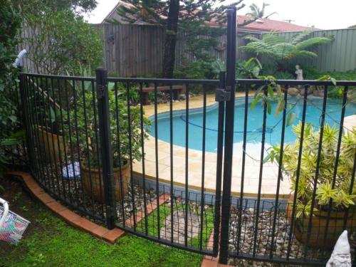 Plastic mesh secured to bottom of pool fence & gate – pot plants also within 300mm