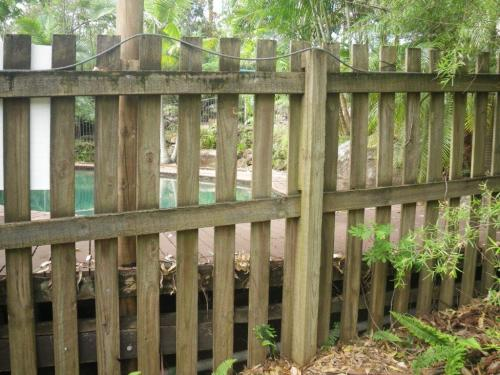Non compliant fencing as numerous footholds exist between ground level, the decking & the mid rail of the fence. The fence is also not 1200mm above the deck height